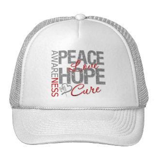 Curación del amor de la paz del cáncer de cerebro gorras de camionero