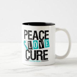 Curación del amor de la paz del cáncer de cuello d taza de café