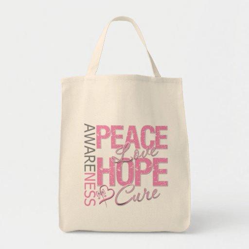 Curación del amor de la paz del cáncer de pecho bolsa tela para la compra