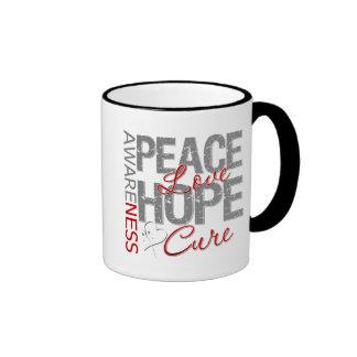 Curación del amor de la paz del cáncer de pulmón taza a dos colores
