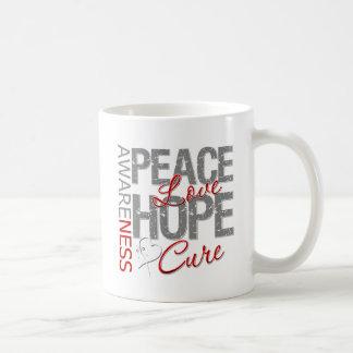 Curación del amor de la paz del cáncer de pulmón taza básica blanca