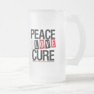 Curación del amor de la paz del cáncer de pulmón taza cristal mate