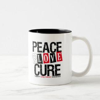Curación del amor de la paz del cáncer de pulmón taza dos tonos