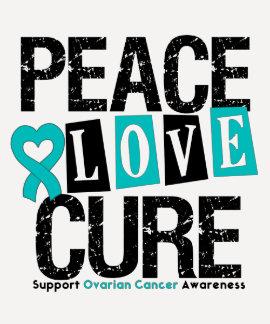 Curación del amor de la paz del cáncer ovárico camisetas
