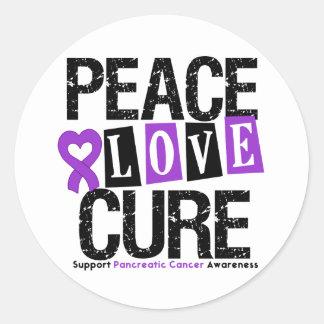 Curación del amor de la paz del cáncer pancreático etiqueta redonda