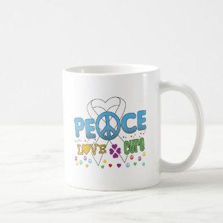 Curación maravillosa del amor de la paz del cáncer taza básica blanca