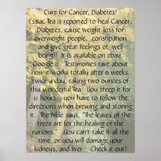 Curación para la impresión del cáncer y de la diab póster