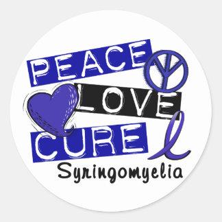 Curación Syringomyelia del amor de la paz Pegatina Redonda