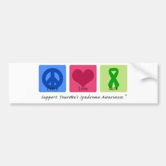 Curación Tourettes del amor de la paz Etiqueta De Parachoque
