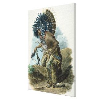 Curandero de la tribu de Mandan en el traje de Impresión En Lienzo