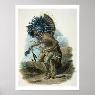 Curandero de la tribu de Mandan en el traje de Impresiones
