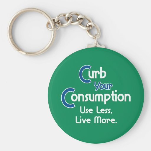 Curb Your Consumption Basic Round Button Keychain