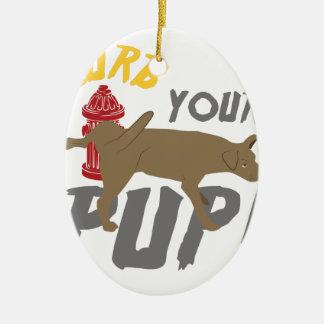 Curb Your Pup Ceramic Ornament