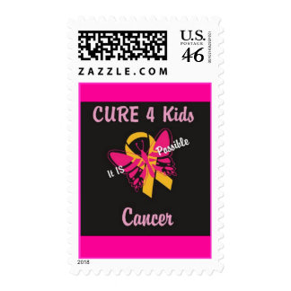 CURE 4 Kids Cancer - It IS Possible Butterfly Stamps
