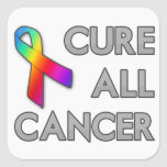 Cure a todo el cáncer calcomanías cuadradases