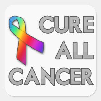 Cure a todo el cáncer calcomanías cuadradas personalizadas