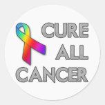 Cure a todo el cáncer pegatina redonda