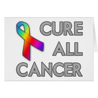 Cure a todo el cáncer tarjeta de felicitación