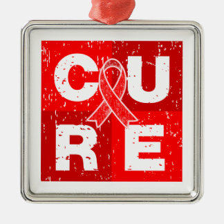 CURE AIDS HIV Distressed Cube Square Metal Christmas Ornament