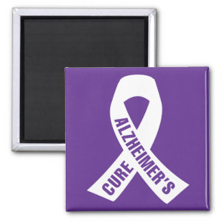 Cure Alzheimers Ribbon on Purple 2 Inch Square Magnet