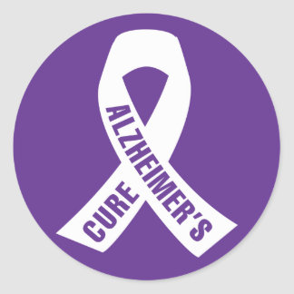Cure Alzheimers Ribbon on Purple Classic Round Sticker