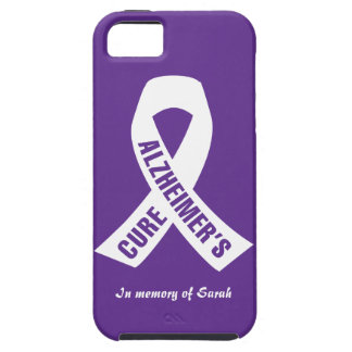 Cure Alzheimers Ribbon on Purple iPhone SE/5/5s Case