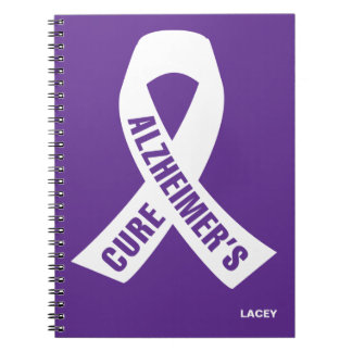 Cure Alzheimers Ribbon on Purple Note Books