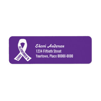 Cure Alzheimers Ribbon on Purple Return Address Label