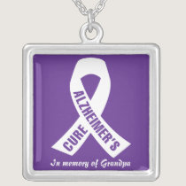 Cure Alzheimers Ribbon on Purple Silver Plated Necklace