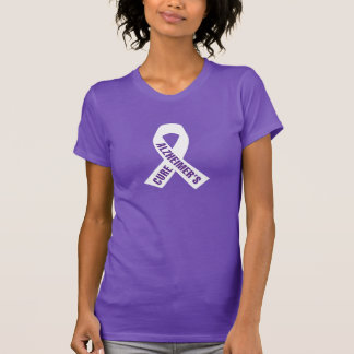 Cure Alzheimers Ribbon on Purple T-Shirt