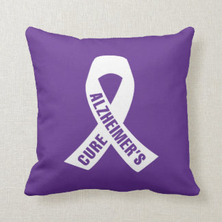 Cure Alzheimers Ribbon on Purple Throw Pillow