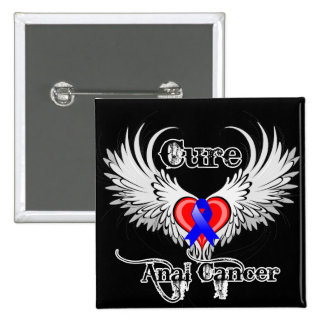 Cure Anal Cancer Heart Tattoo Wings Pin