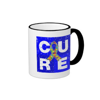 CURE Autism Distressed Cube Mugs