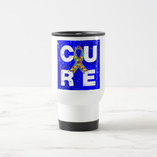 CURE Autism Distressed Cube Coffee Mugs
