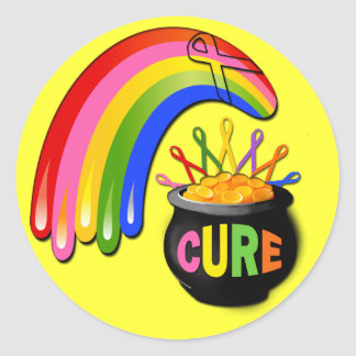 Cure - Awareness Ribbons Pot & Rainbow Classic Round Sticker