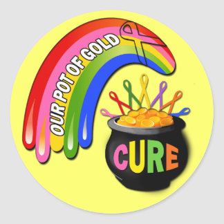 Cure - Awareness Ribbons Rainbow Classic Round Sticker