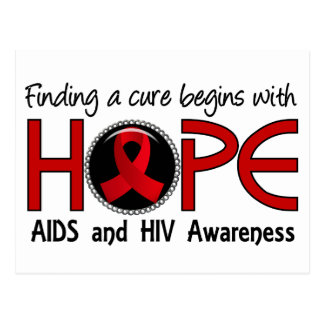 Cure Begins With Hope 5 AIDS Postcard