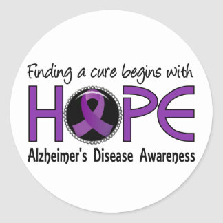 Cure Begins With Hope 5 Alzheimer's Disease Classic Round Sticker