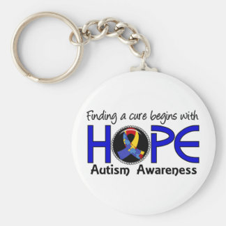 Cure Begins With Hope 5 Autism Basic Round Button Keychain