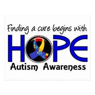 Cure Begins With Hope 5 Autism Postcard
