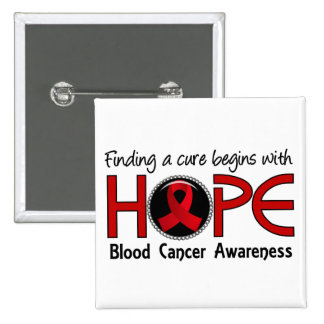 Cure Begins With Hope 5 Blood Cancer 2 Inch Square Button