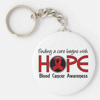 Cure Begins With Hope 5 Blood Cancer Basic Round Button Keychain