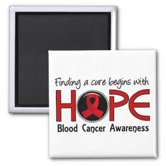 Cure Begins With Hope 5 Blood Cancer 2 Inch Square Magnet