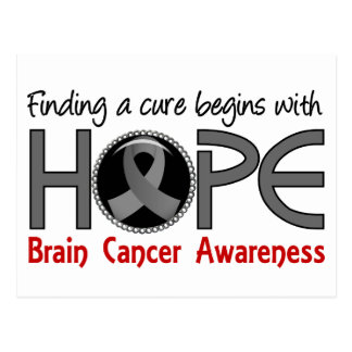 Cure Begins With Hope 5 Brain Cancer Postcard