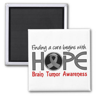 Cure Begins With Hope 5 Brain Tumor Refrigerator Magnet