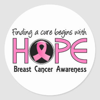 Cure Begins With Hope 5 Breast Cancer Classic Round Sticker