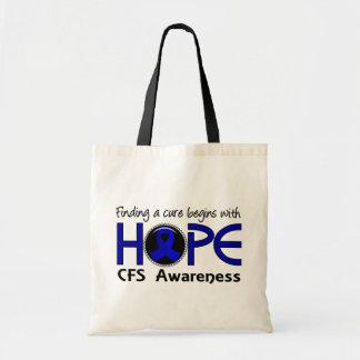 Cure Begins With Hope 5 CFS Tote Bags
