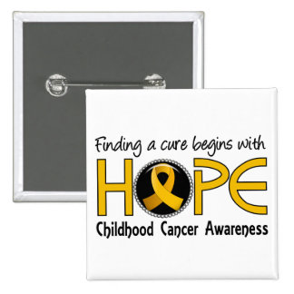 Cure Begins With Hope 5 Childhood Cancer Pinback Button