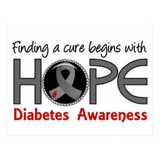 Cure Begins With Hope 5 Diabetes Postcard
