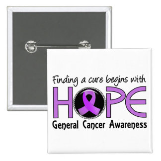 Cure Begins With Hope 5 General Cancer Pins